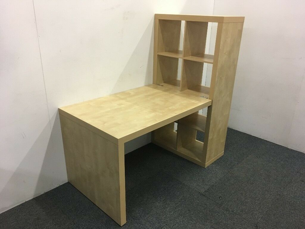 birch ikea expedit desk with cube unit attached | in stroud