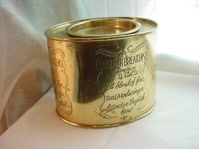 English Breakfast Tea Brass Metal Tin Vtg Hosley