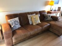 Quality Leather Sofa with Chaise End