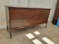 Sideboard / 4 drawer unit / dark brown with metal legs