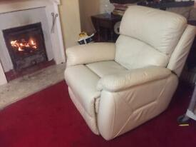 White Leather Electric Recliner Arm Chair