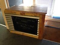 Shabby industrial chic wood/corrugated metal corner bar