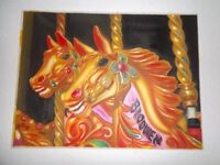 Fairground Merry Go Round Carousel Horses Large Oil Painting on Canvas.