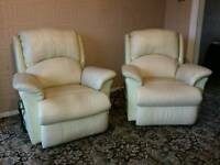 Pair of cream electric leather recliner riser chairs