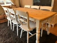 6ft Shabby Chic Chunky Farmhouse Pine Table and 6 Chairs