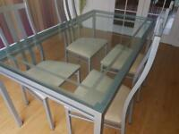 M&S Glass Dining Table, 4 chairs and side table