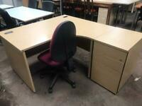 1400mm Right Curved Desk and Side Pedstal Package