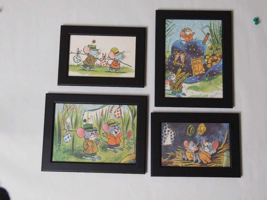 Set of 4 Retro 1970's prints of mice