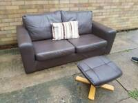 Brown 2 seater sofa & footstool free delivery