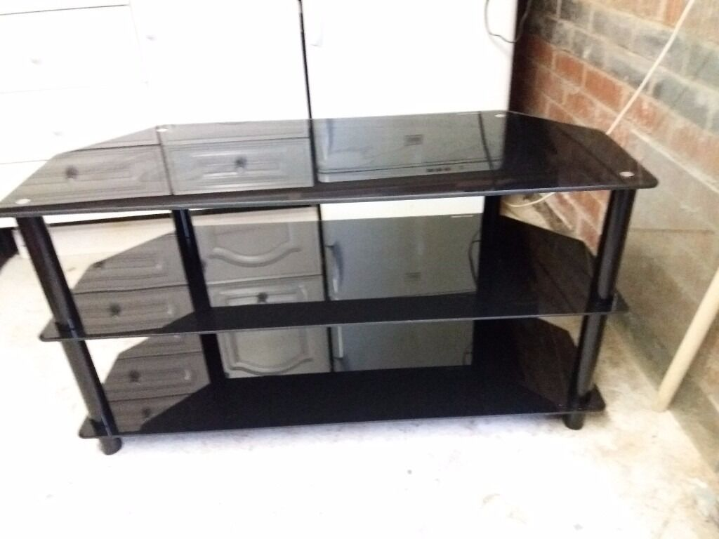 black glass TV table stand for led TV 3 shelf