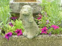 Vintage Well Weathered Cast Stone Sitting Spaniel Dog Garden Statue 32cm Tall