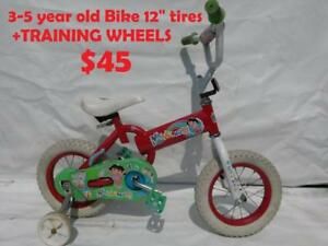 "3-5 year old Bike 12"" SUPER CYCLE  Disney +TRAINING WHEELS"
