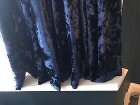 Navy blue crushed velvet curtains