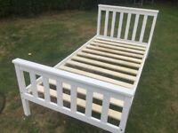 Wooden Single Bed Frame (white)