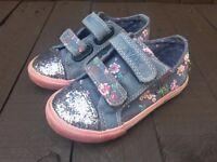 Next Girls Blue Denim Canvas Shoes / Pumps, UK Size 5 and 6 Available