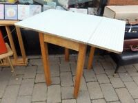 Vintage 1960s green gingham fold formica, kitchen table.