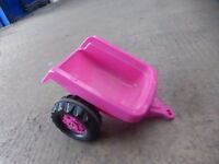 Pink kids trailer for toy tractor