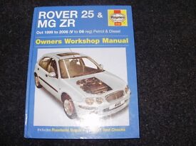 haynes car manual rover 25 mgzr 1999 to 2006 good clean condition