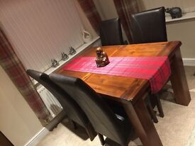 Solid Wood Table and 4 leather Chairs