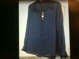 Navy blouse shirt size 18 new with tags! GOK design, dress day evening clothing