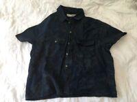 Topshop navy floral short sleeve linen shirt, size 12, like new