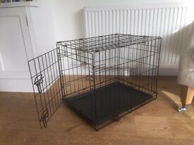 Puppy crate - medium black metal fold down frame in great condition