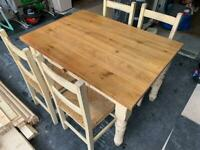 Distressed oak top table with 4 chairs