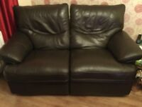 2 Two seater brown leather recliner couches
