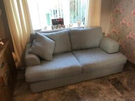 NEXT two seater in duck egg blue and aubergine cuddle chair.