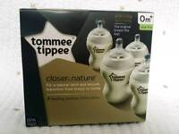Tommee Tippee closer to nature baby bottles x 4