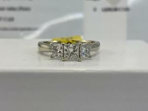 #307 14K White Gold Princess Cut Past Present Future Diamond Engagement Ring *SIZE 5 3/4* APPRAISED AT $4850.00!