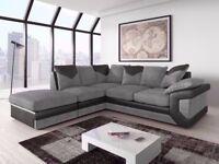 🌺🌺dino leather & fabric corner L-shape sofa 🌺🌺 foam seat black grey brown corner and 3 and 2
