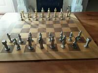Decorative chess set and wooden board