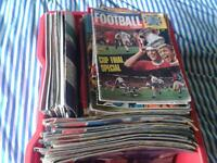 1960s large box full of comics & football mags