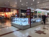 Jewellery and Watch Kiosk's shopfitting counter and tower displays including sunglasses display