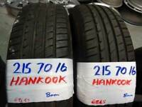 pair of matching 215 70 16 HANKOOK tyres ONLY DONE 500 MILES £70 PAIR SUPP & FITTED 7-DAYSBB