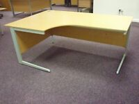 1 x Beech Wood Finish Left Curve Large Office Desk