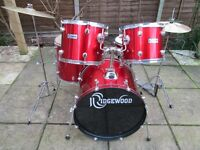 Drums - Complete Beginners Drum Kit - Ridgewood - Red Sparkle - Excellent