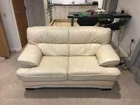 Quality 2 and 3 seater cream leather sofas