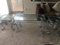 3 lounge Silver and glass tables