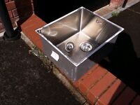 Square stainless steel sink, brand new.