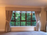 Beige interior designed high quality lined curtains and pelmets