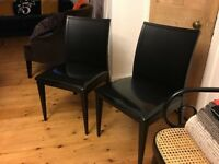 Two Italian hand-made leather chairs (black)