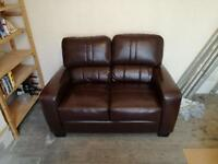 2 two seater brown sofas