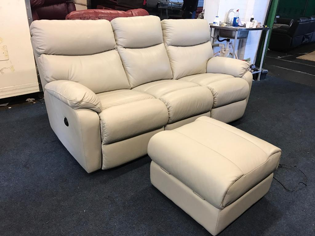 Harvey's bailey cream grey 3 seater electric power Recliner Sofa and foot stool pouffe three couch