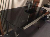 Black Glass Desk 58cm deep x 120cm long £50 - open to offers