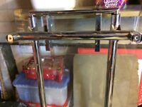Glass and chrome extendable dining room table
