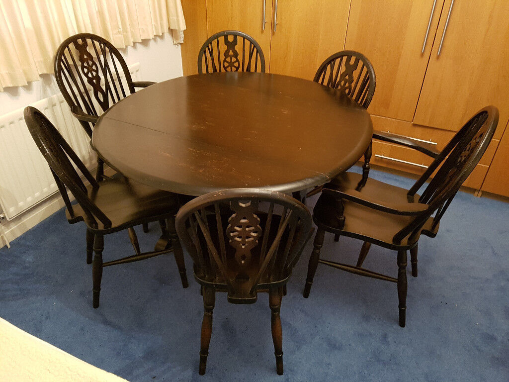 Priory Dark Oak Solid Wood Dining Table Plus 6 Chairs