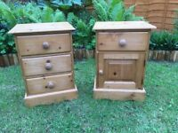 2x Durham pine waxed bedside cabinates