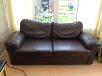 Soft Brown Leather 3 seater Sofa - Available Free if Collected Today